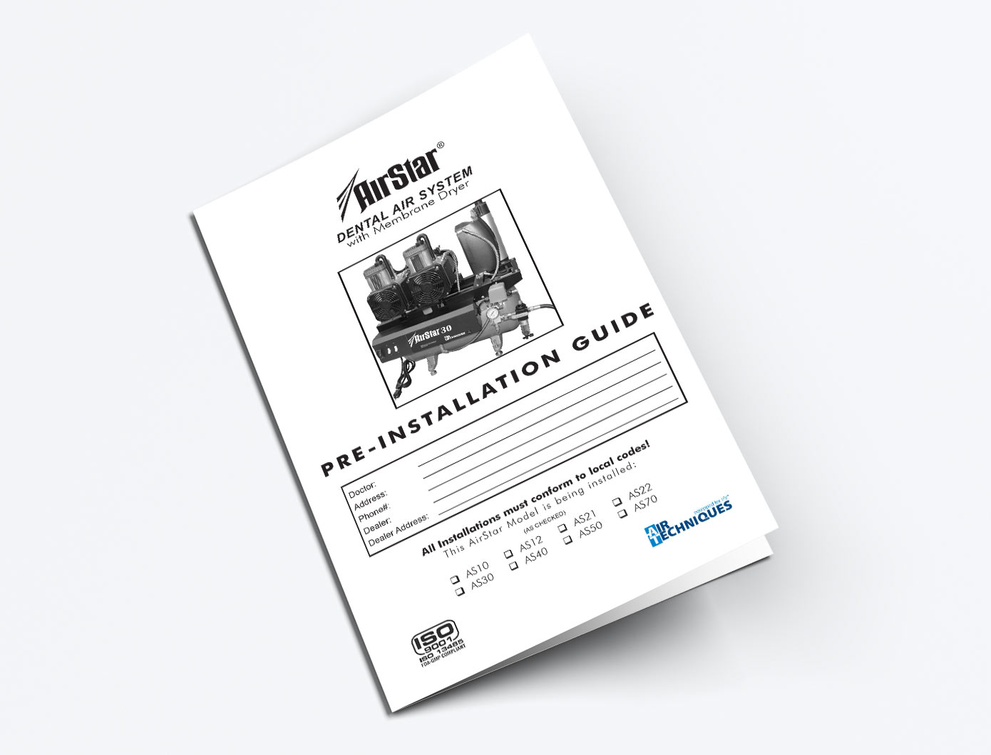 Manuals Air Techniques Pro Team Vacuum Wiring Diagram Airstar 10 100 Compressor Pre Installation Guide